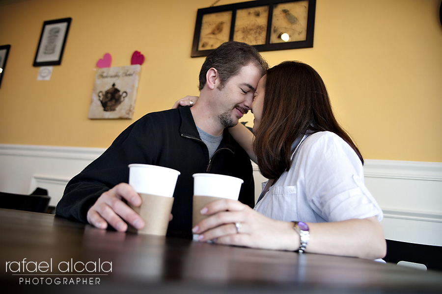 destination engagement session, coffee shop photo